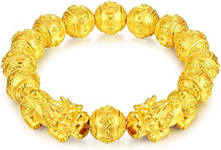 Prime Feng Shui Bracelet Porsperity Bling Golden Mantra Bead Bracelet with Double Pi Xiu/Pi Yao Attract Wealth and Good Luck Best Gift