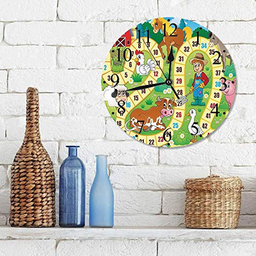 Silencioso Wall Clock Decoración de hogar de Reloj de Redondo,Juego de mesa, Granja rústica Medio ambiente agrícola Animales Primavera en maderas Decorac,para Hogar, Sala de Estar, el Aula