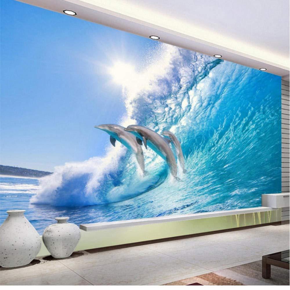 Amazon Co Jp モダンクリエイティブジャンプイルカ3dステレオ壁画壁紙hdサンシャイン海波写真壁紙リビングルームの背景の壁の装飾 400x280cm ホーム キッチン
