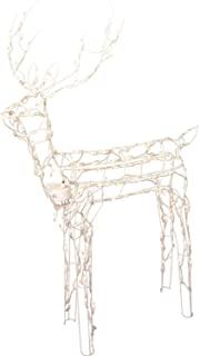 Animated 3-D Wire Standing Buck Reindeer, Lighted and Moving Christmas Yard Decoration, 48-inches Tall