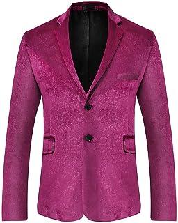 Mens Velvet Blazer Slim Fit Notch Lapel Casual Suit Jackets Floral Tuxedo Blazers Coat