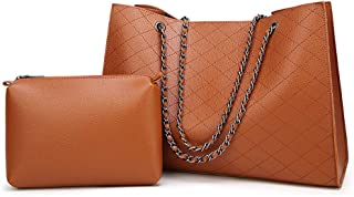 Women's Shoulder Bag, Handbag, Two-Piece Suit, Diamond Lattice, pu Material, Large Capacity, Sleek and Simple, Suitable for Work, Travel, Shopping,Brown
