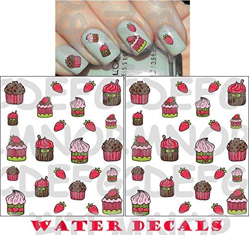AWS Set da 2 foglietti Water decals Tortine Cupcakes unghie nail art Pasticcini Adesivi stickers transfer Cake stickers Decalcomania torte al cioccolato e fragole cupcake muffin decorazione