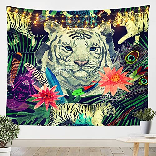 Tapiz de tigre para colgar en la pared, diseño de animales salvajes, plumas de pavo real, decoración floral para dormitorio, sala de estar, hogar, safari, gato, grande, 122 x 172 cm