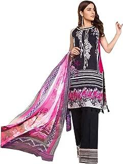 Black Lawn Cotton Printed Pakistani Designer Kashmiri Pattern Palaazo Salwar Kameez Muslim Suit 8213