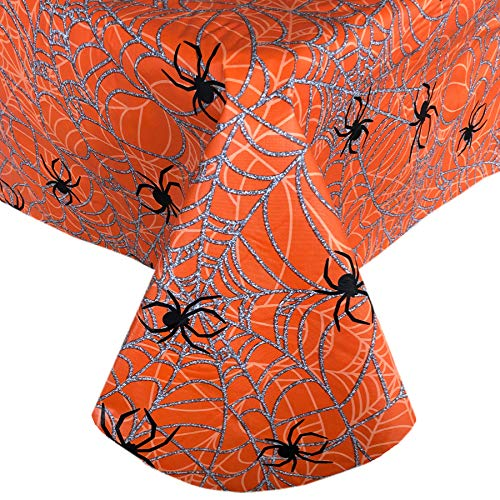 Newbridge Scary Spiders Web Halloween Vinyl Flannel Backed Tablecloth - Spooky Silver, Orange and Black Spiders Web Halloween Tablecloth, Easy Care Wipe Clean, 52 in x 52 in Square