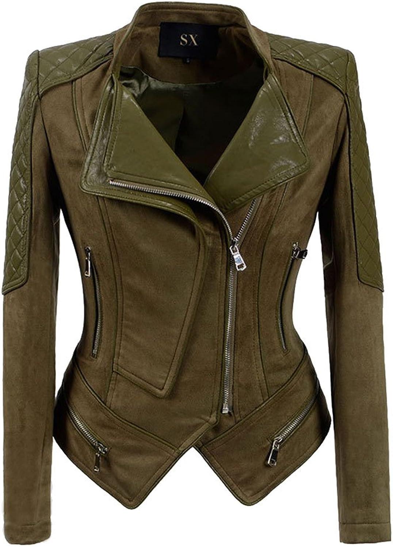 HIENAJ Women's Suede Leather Motorcycle Jacket Stand Collar Side Zip Bike Jacket Coat