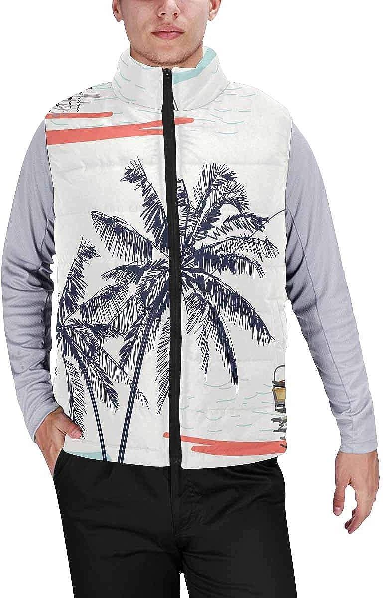 InterestPrint Winter Lightweight Personality Design Padded Vest for Men Clean Baseball