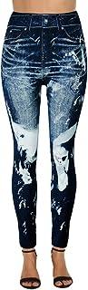 Buyaole Pantalones Mujer Vaqueros,Moda Mujeres ImitacióN Vaquero Yoga Deporte Impreso Pantalones De PantalóN EláSticos Nov...