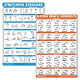 QuickFit 2 Pack - Stretching Exercises and Sliding Bench Workout Poster Set - Compatible with Total Gym & Weider Ultimate Body Works (Laminated, 18' x 27')