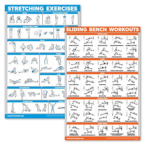 """QuickFit 2 Pack - Stretching Exercises and Sliding Bench Workout Poster Set - Compatible with Total Gym & Weider Ultimate Body Works (Laminated, 18"""" x 27"""")"""