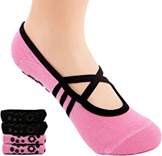 Supstar, Calcetines Pilates Yoga Antideslizantes Traspirable Mujer para Barra Ballet Danza (2 Par)