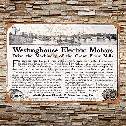 Henson 1911 Westinghouse Motors Drive De Grote Meel Molen Traditionele Vintage Tin Teken Logo 12 * 8 Reclame Opvallende Muur Decoratie