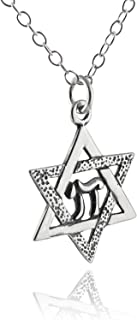 """FashionJunkie4Life Sterling Silver Star of David with Chai Pendant Necklace, 18"""" Chain"""