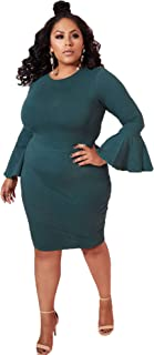 2d9f3c6c2150 Rebdolls Women's Cocktail Long Bell Sleeve Bodycon Holiday Green Party Mini  Dress Plus Sizes