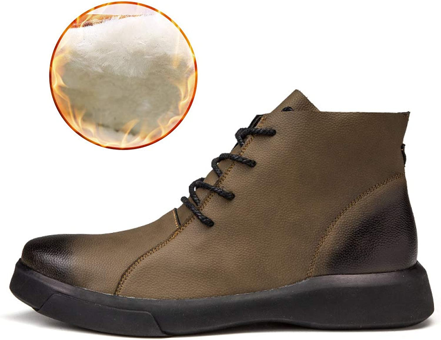 DZX Mens Winter Outdoor Casual Leather shoes British Style Lace Up Anti-Slip Luxurious Leather shoes - For Work And Walking,Khaki-44