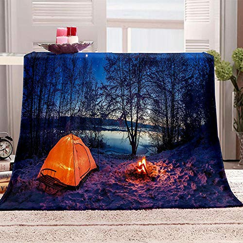DKIPN Super soft flannel wool blanket For cushion/sofa/chair/sofa Super soft and fluffy of microfiber blanket Tent and campfire-180x200 cm/71x79 inch