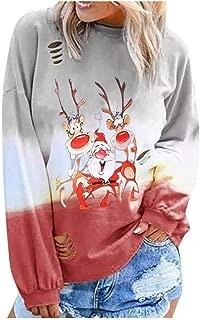 Women's Pullover Gradual Long Sleeve Shirt Casual Round Neck T Shirts Blouses Sweatshirts Christmas Tunic Tops