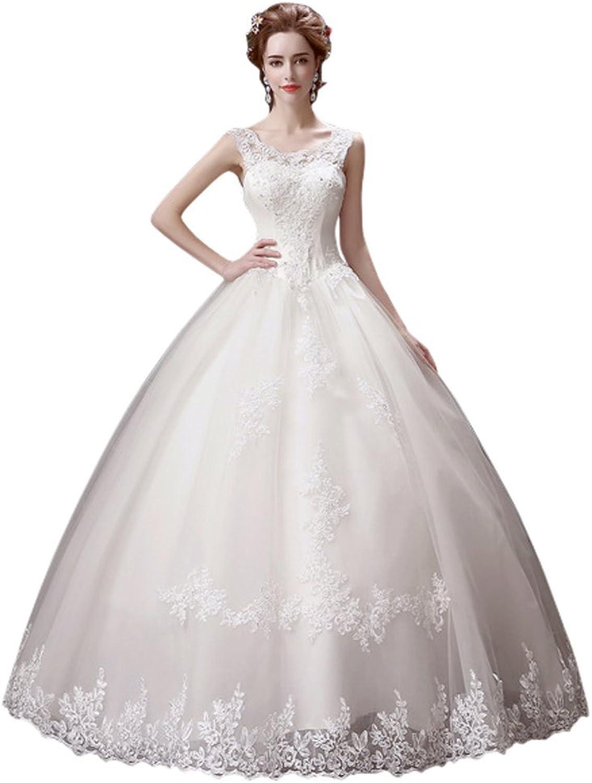 Drasawee Women's Floor Length Scoop Neck Sequins Bowknot Tulle Wedding Dress
