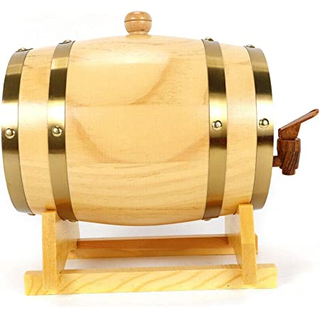 Dispensador de vino de estilo vintage con barril de roble, 5 litros, para vino, whisky y chupitos, traje para casa, bar, fiesta y banquete.
