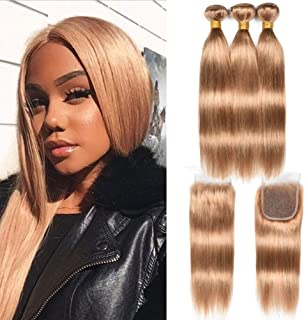WOME Peruvian Silky Straight Human Hair Color #27 Hair Bundles with Lace Closure Honey Blonde Bundles with Closure Double Wefts Hair Weaves Extensions(18 20 22+18Closure, 27#)
