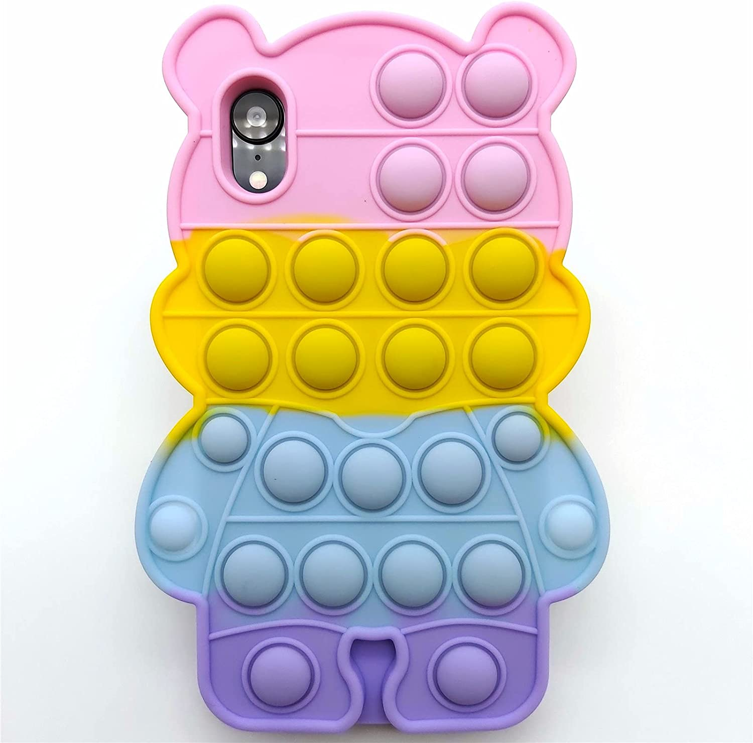 for iPhone XR Case Push Pop Bubbles iPhone XR Case Cute Bear Soft Silicone Fidget Toy Phone Case for iPhone XR Sensory Anxiety Relief Autism Logical Thinking Cover Teen Girls Women Boys Kids (XR)