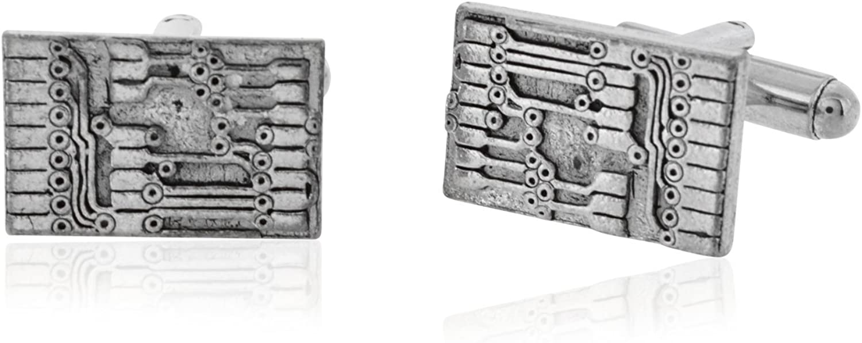 62CIRCUIT Elegant Pewter Circuit At the price Board Cufflinks