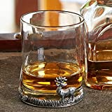 At home in the country Vaso de whisky, ginebra o agua, de ciervo para regalo, de cristal y estaño, talla única