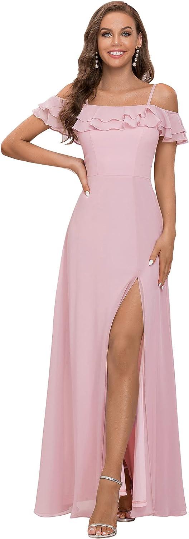 Ever-Pretty Women's A Line Maxi Spaghetti Straps Off Shoulder Ruffle Chiffon Formal Party Dress 80085