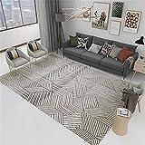 La alfombras Alfombra Dormitorio Fácil de Limpiar el diseño geométrico Gris Negro Duradero Puede ser Lavado Alfombra Chimenea alfombras Lavables Salon 200X300CM