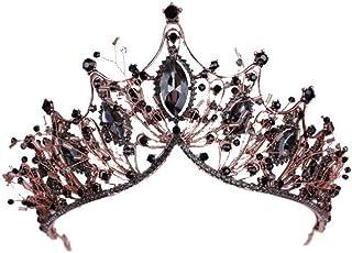 YNYA Tiare Sposa Corona Nero Corona Testa di Matrimonio Corona Abito da Sposa Compleanno per Adulti Corona Corona Mezza Co...