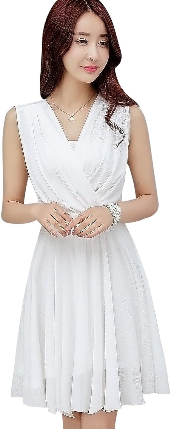 Tanming Women's Sleeveless V-Neck Knee Length Tank Chiffon Dress with Belt