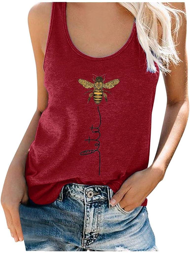 TIK Tok Tops Womens Summer Tops, Womens Tank Tops,Women Summer Bee Print Round Neck Sleeveless Casual T-Shirt Top Tank