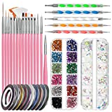 Nail Art Pinsel Set, FANDAMEI 15 Stücke Nagel Pinsel Rosa, 5 Stücke Dotted Pen, 10 Rolle...