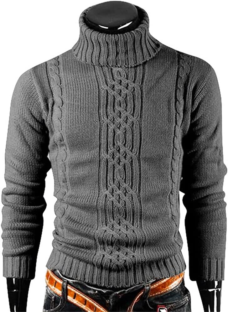 ZTTZX Winter Warm Turtleneck Sweater Men Vintage Tricot Pull Homme Casual Pullovers Male Outwear Slim Knitted Sweater Solid Jumper (Color : Dark Grey, Size : M code)