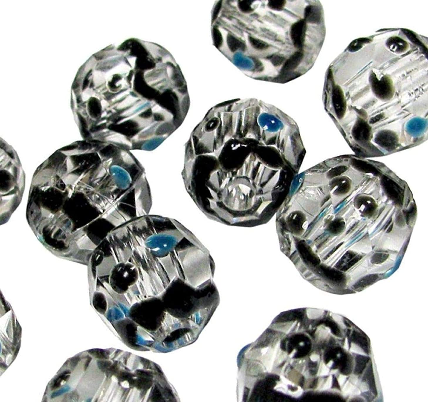 Linpeng Handmade Painted Dots & Wave Acrylic Beads for Jewelry Making, Blue, Black, Clear