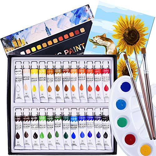 Acrylic Paint, 24 Colours Acrylic Paint Tube Set 12 ml Watercolors Painting...