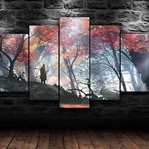IMXBTQA 5 Teilig Leinwand Wanddeko Sekiro Shadows Sterben Zweimal Malerei Leinwanddrucke Geschenk 5 Stück Leinwand Bilder Moderne Wandbilder XXL Wohnzimmer Wohnkultur 150X80Cm
