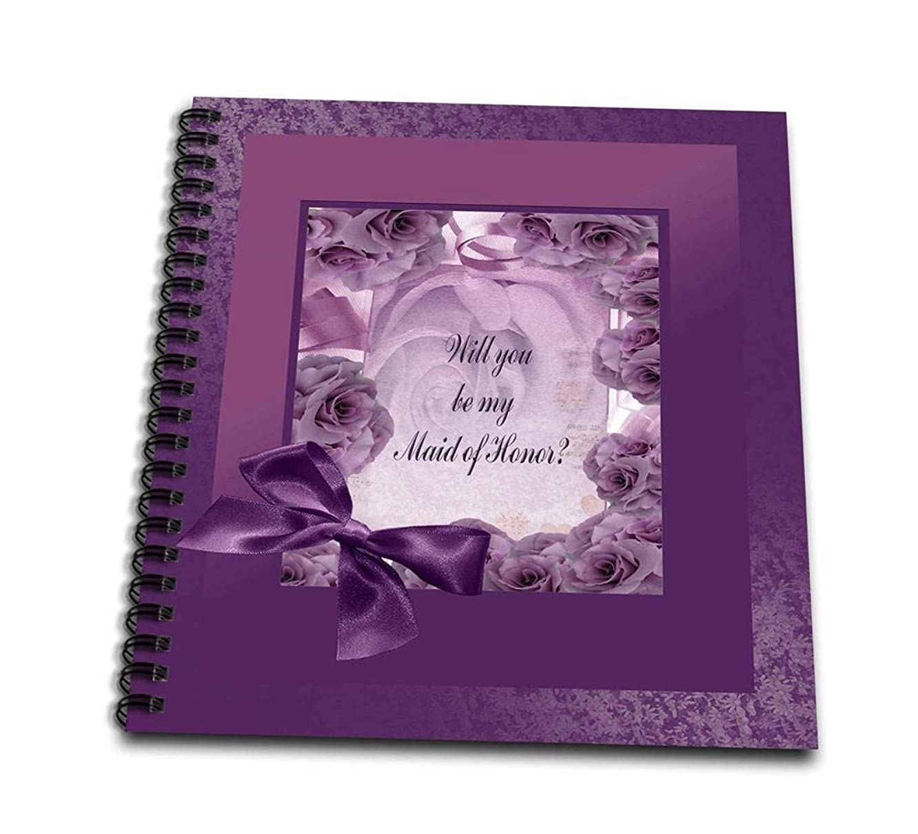 3dRose db_49242_1 Maid of Honor, Plum Pink Rose Frame with Bow-Drawing Book, 8 by 8-Inch