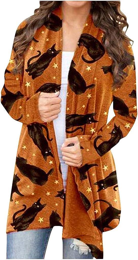 Long Sleeve Shirts for Women, Pumpkin Cat Cardigan Halloween Long Sleeve Loose Outerwear Coat Sweatshirt