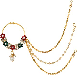 PRITA Traditional Gold Plated Red & Green Kundan Nose Ring/Nath with 2 Gold & 1 Pearl Chain for Women/Girls