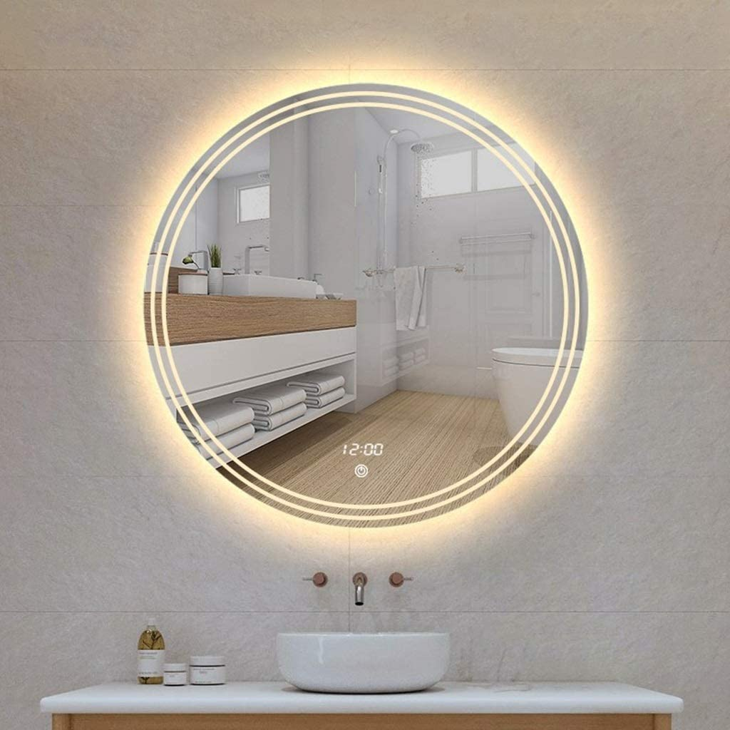 Amazon Com Makeup Mirror Round Frameless Wall Mirror Modern Stylish Bathroom Vanity Bedroom Mirror Elegant Home Decor European Style Wall Mounted Vanity Mirrors Color C Size 80x80cm Home Kitchen