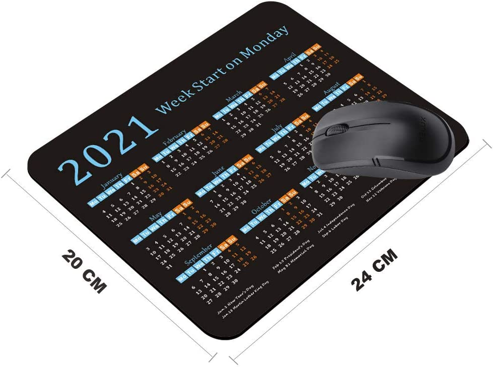2021 Calendar Mouse Pad with Holidays,Gaming Mousepad with Non-Slip Rubber Base for Gift,Aristocats Shy Marie Game and Office Mouse Mat