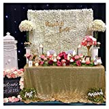 B-COOL Gold Sequin Tablecloth Seamless 90X132inch Rectangle Sequence Table Overlays Birthday Cake Party Christmas Decorations Vintage Wedding Table Cloth