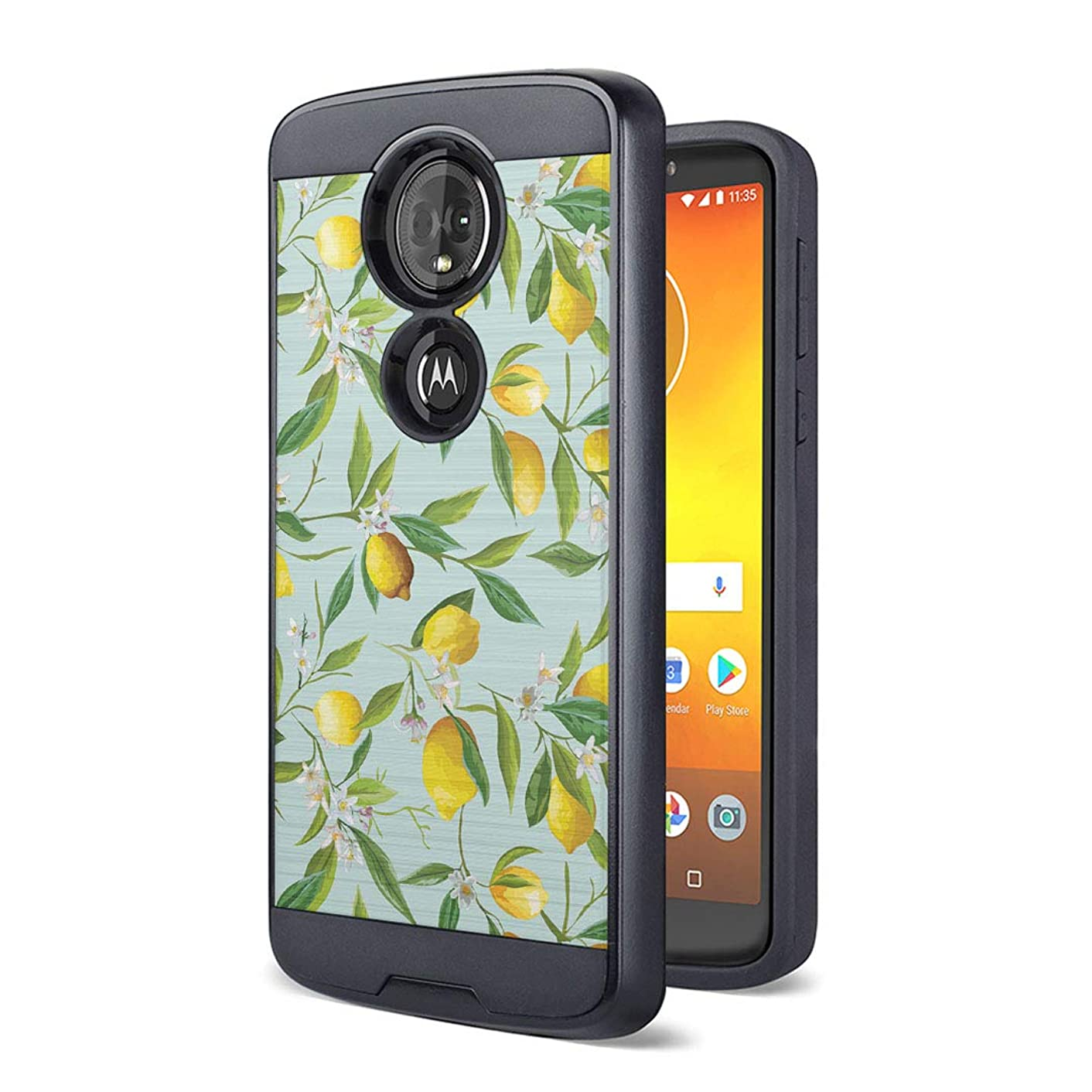 Moriko Case Compatible with Moto G7 Power, Moto G7 Supra [Drop Protection Fusion Dual Layer Slick Armor Case Black] for Motorola Moto G7 Power - (Summer Lemon)