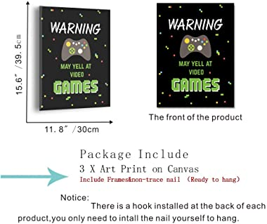 HPNIUB Video Game Wall Art Prints,Funny Quotes Painting Set of 3 Pieces (11.8x15.6inch) Canvas Gamer Poster with Framed Ready