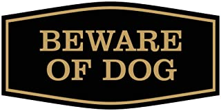 Fancy Beware of Dog Sign (Black/Gold) - Small