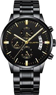 CUENA Reloj para Hombre, Diseño Ejecutivo, Elegante, Contemporáneo, Clásico, Correa de Metal, Fechador Automático, Broche de Presión
