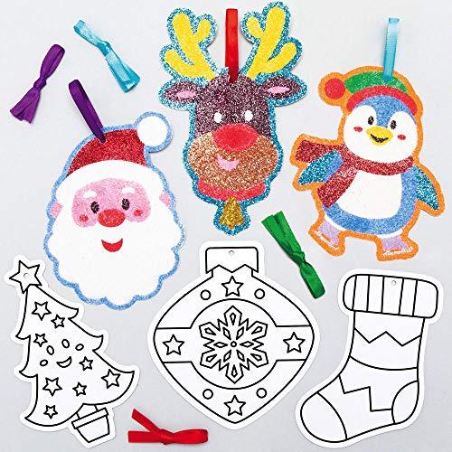 Baker Ross AX485 Weihnachten Sandkunst Deko Anhänger Bastelset für Kinder - 12 Stück, Festliche Kreativsets und Bastelbedarf zum Basteln und Dekorieren zur Weihnachtszeit