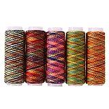 5 piezas de hilo de coser de color arcoíris para bordar a mano